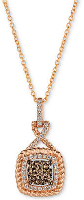 "LeVian Le Vian Chocolatier Diamond Cluster Rope-Look 18"" Pendant Necklace (3/8 ct. t.w.) in 14k Rose Gold"