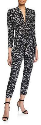 A.L.C. Kieran Printed Long-Sleeve Belted Jumpsuit