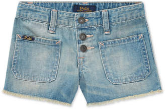 Polo Ralph Lauren Cotton Denim Shorts, Little Girls