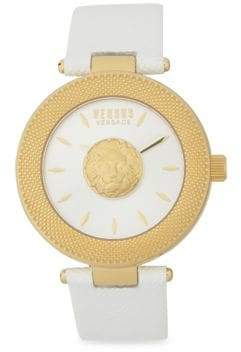 Versace Yellow Goldtone Stainless Steel Mini Lion Sculpture Leather Strap Watch