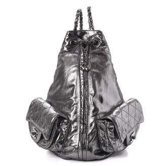 Chanel Is Back Backpack Quilted Diamond Iridescent Silver
