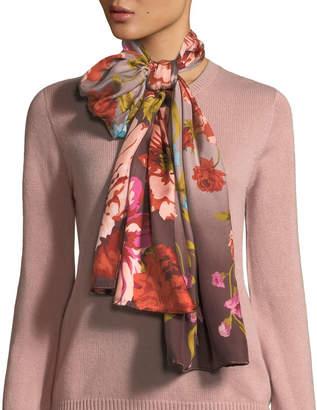 Max Studio Fall Fleur Oblong Silk Scarf