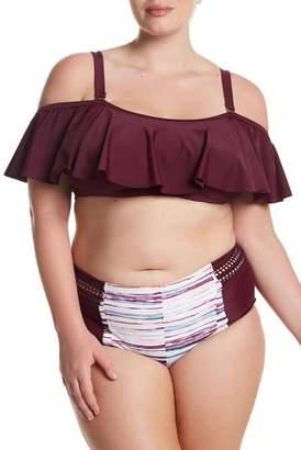 Raisins Curve Cold Shoulder Flutter Bikini Top (Plus Size)