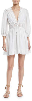 Zimmermann Iris Corset-Waist Lace Trim Mini Dress
