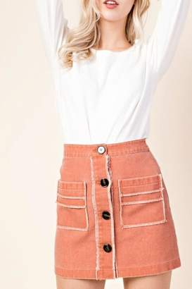 Honey Punch Button Front Skirt