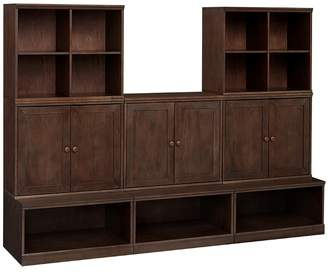 Pottery Barn Kids Cameron 3 Open Base, 3 Cabinet, & 2 Cubby Set, Chocolate