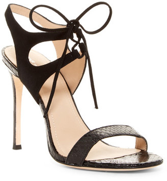 Pour La Victoire Elisa Genuine Snakeskin Strap Sandal $245 thestylecure.com