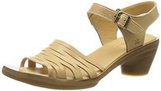 El Naturalista Women's N5352 Vaquetilla Wood/Aqua Closed Toe Heels, Beige