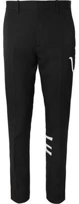 Calvin Klein Black Slim-fit Piped Wool-gabardine Trousers - Black