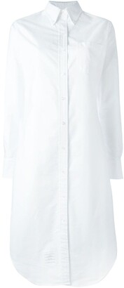 Thom Browne Long Sleeve Button Down Knee Length Shirtdress In Oxford