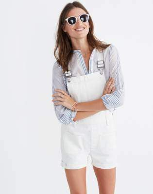 Madewell Adirondack Short Overalls in Tile White