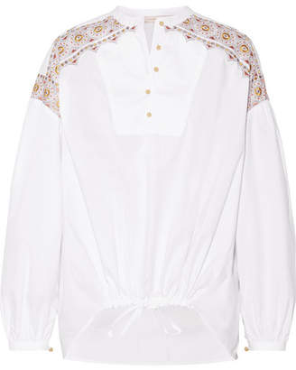 Tory Burch Jayne Embroidered Cotton-poplin Blouse - White