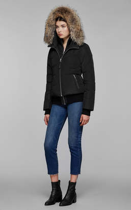 Mackage Romane Bomber Cut Down Jacket With Natural Fur