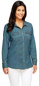Denim & Co. Stretch Denim Long Sleeve ButtonFront Shirt