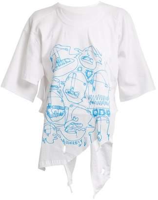 Charles Jeffrey Loverboy - Asymmetric Hem Graphic Print Cotton T Shirt - Womens - White