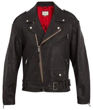 Gucci Dragon Applique Leather Jacket - Mens - Black