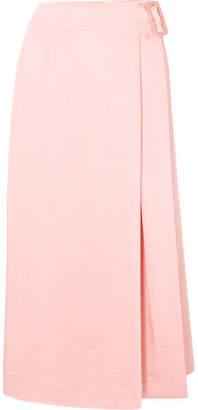 REJINA PYO - Ellis Satin Wrap Midi Skirt - Peach