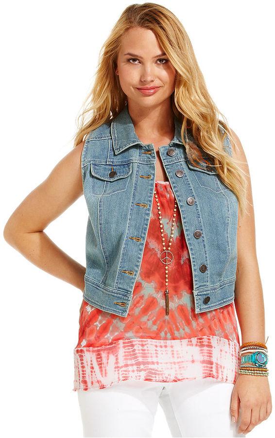 American Rag Plus Size Vest, Sleeveless Denim Racerback, Abella Wash