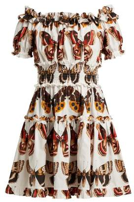 c6bfadea8a5 Dolce   Gabbana Butterfly Print Cotton Poplin Mini Dress - Womens - Brown  White