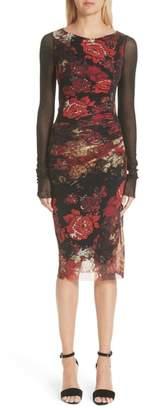 Fuzzi Contrast Sleeve Tulle Dress