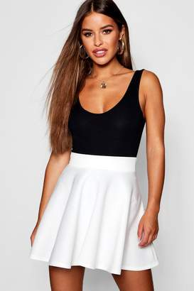 boohoo Petite Scuba Solid Colour Skater Skirt