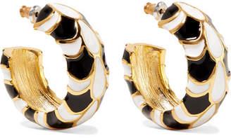 Kenneth Jay Lane Gold-plated Enamel Earrings - Black