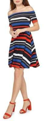 Dorothy Perkins Striped Stretch-Cotton Fit-and-Flare Dress
