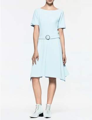 Calvin Klein platinum crepe belted dress