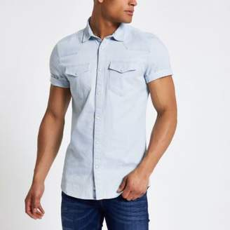 River Island Blue western style slim fit denim shirt
