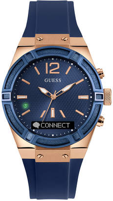 GUESS Women's Analog-Digital Connect Blue Silicone Strap Smart Watch 41mm C0002M1 $249 thestylecure.com