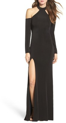 Women's La Femme Cold Shoulder Jersey Gown $368 thestylecure.com