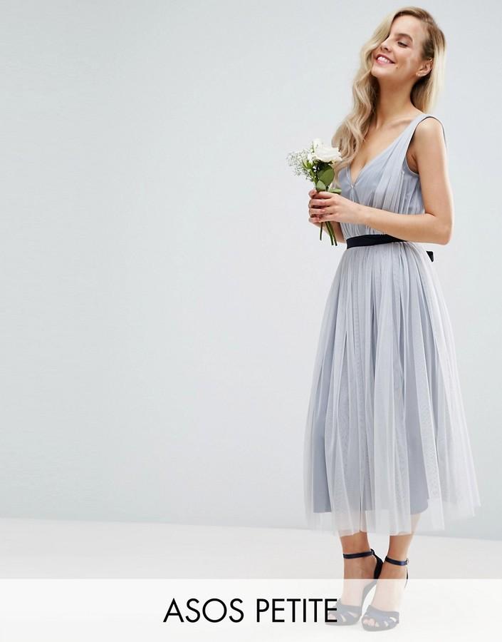 AsosASOS Petite ASOS PETITE WEDDING Mesh Midi Dress With Ribbon Strapping Detail