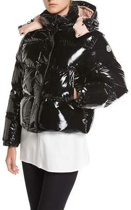 Moncler Gaura Shiny Puffer Quilted Coat, Black