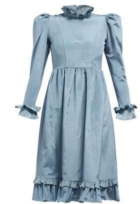 Batsheva Moire High Neck Ruffled Dress - Womens - Blue