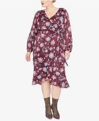 Rachel Roy Trendy Plus Size Floral-Print Wrap Dress