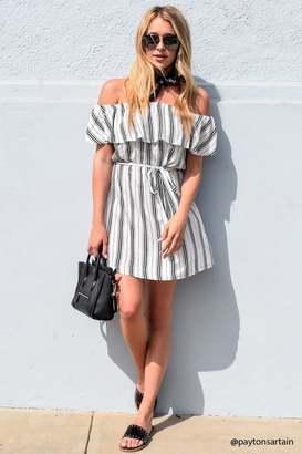 LOVE21 LOVE 21 Stripe Off-the-Shoulder Mini Dress