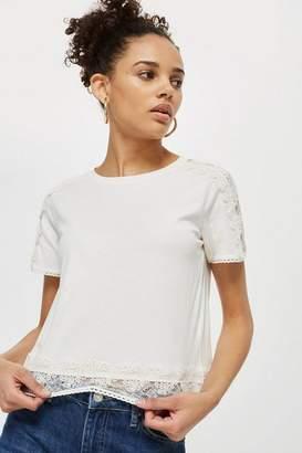 Topshop Lace Trim T-Shirt