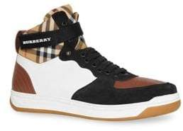 Burberry Dennis High-Top Vintage Check Sneakers