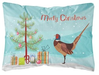 The Holiday Aisle Ingerson Ring-necked Common Pheasant Christmas Indoor/Outdoor Throw Pillow The Holiday Aisle