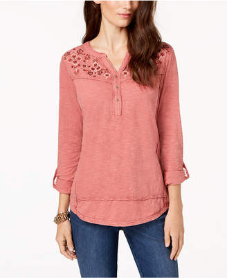 Style&Co. Style & Co Petite Cotton Embroidered Split-Neck Top, Created for Macy's