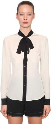 RED Valentino Contrasting Bow Silk Crepe Blouse