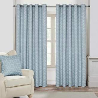 Homescapes Blue Geometric Jacquard Blackout Eyelet Curtain Pair, 65X 90