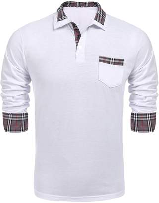 1165128a3457 COOFANDY Men s Classic Casual Long Sleeve Plaid Collar Polo Shirt with  Pockets