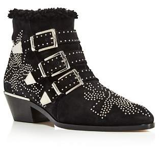 Chloé Women's Susan Pointed Toe Studded Suede & Shearling Booties