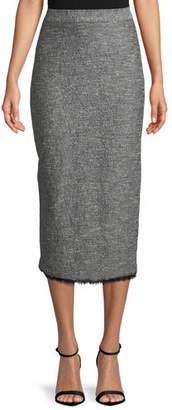 Lela Rose Tweed Fringe-Hem Midi Pencil Skirt
