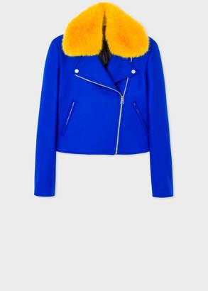Paul Smith Women's Cobalt Blue Wool-Blend Biker Jacket With Yellow Faux Fur Collar