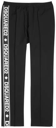 DSQUARED2 Black Logo-embroidered Wool-blend Trousers