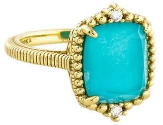 Judith Ripka 18K La Petite Diamond & Turquoise Doublet Cocktail Ring