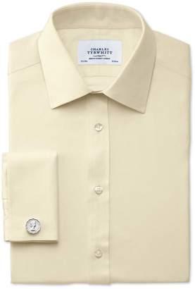 Charles Tyrwhitt Classic Fit Egyptian Cotton Cavalry Twill Yellow Dress Shirt Single Cuff Size 15.5/37