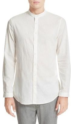 Men's John Varvatos Collection Extra Trim Fit Band Collar Linen Sport Shirt $248 thestylecure.com